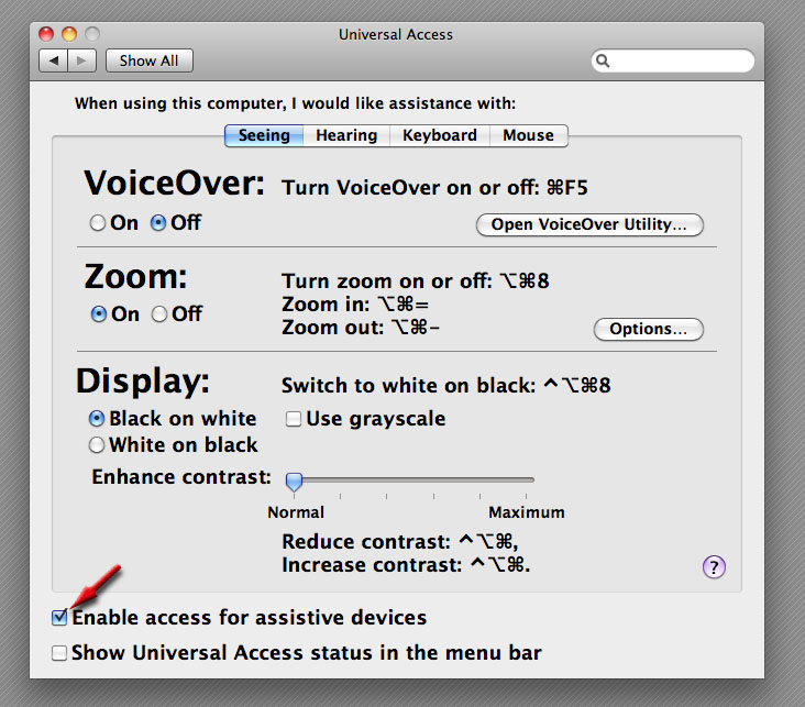"screenshot of the ""enable access"" menu options."